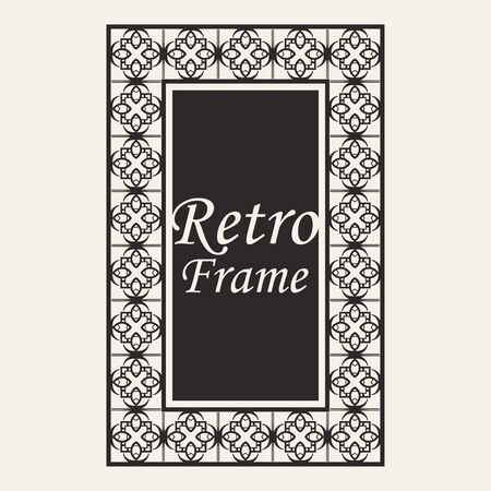 Vintage ornate border frame with ornamental elements, calligraphy swirls and ornament. Can be used for retro invitations and royal certificates. Vettoriali