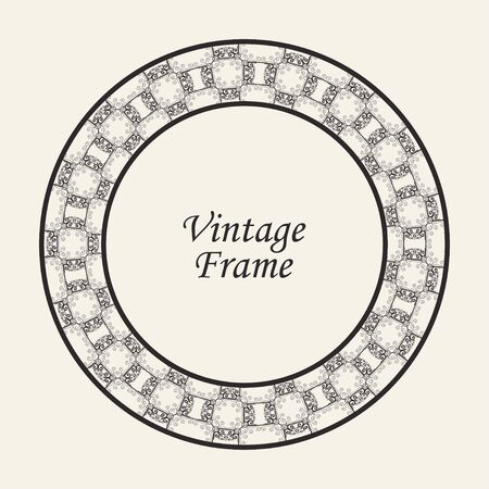 Decorative black round modern art deco frame. Template for design. Elegant element with place for text. Vintage ornate border. Lace illustration for invitations and greeting cards