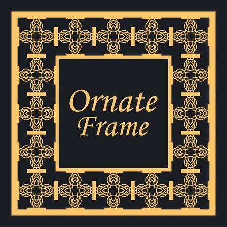 Decorative vintage modern art deco frame and border. Vector illustration Ilustração