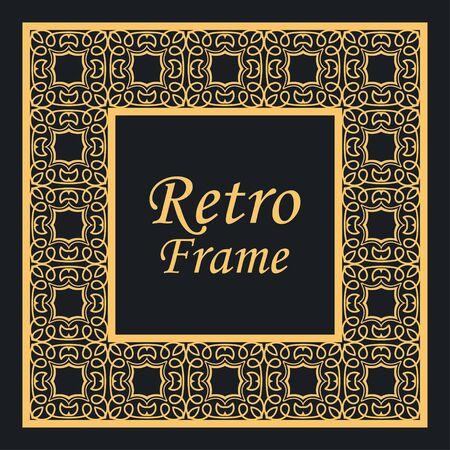 Cornice e bordo decorativi vintage in stile art deco moderno. Illustrazione vettoriale Vettoriali
