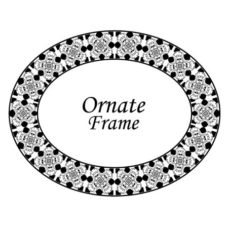 Decorative oval modern retro frame.Vector illustration. Black border on white background