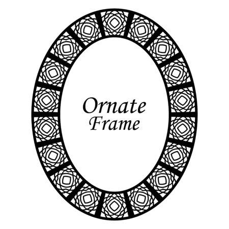 Decorative oval modern retro frame .Vector illustration. Black border on white background