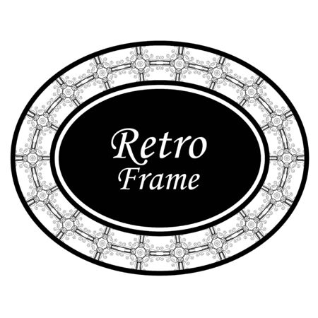 Decorative oval modern retro frame .Vector illustration. Black border on white background