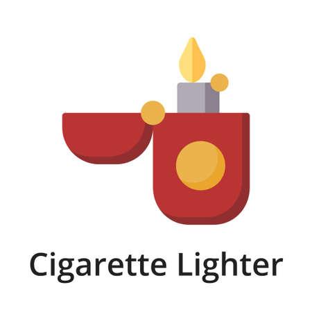 Cigarette Lighter flat vector illustration. Single object. Icon for design on white background