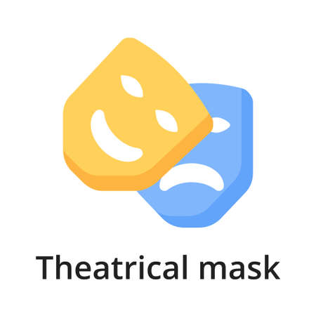 Theatrical mask flat vector illustration. Single object. Icon for design on white background Vettoriali