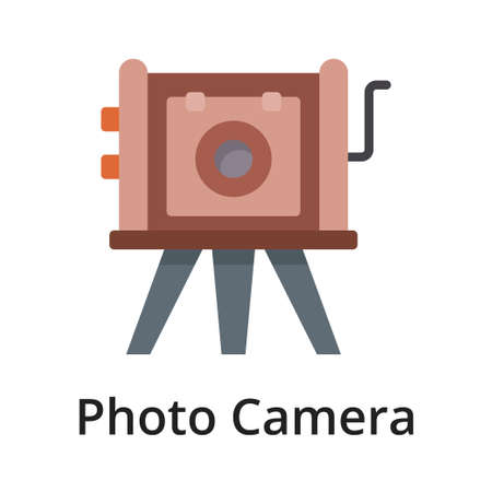 Photo camera flat vector illustration. Single object. Icon for design on white background