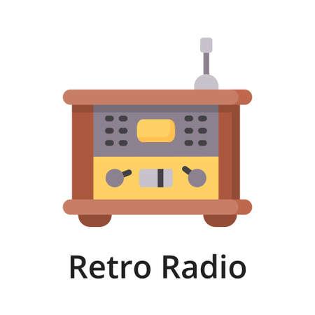 Retro radio flat vector illustration. Single object. Icon for design on white background