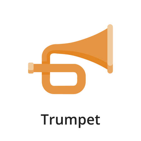 Trumpet flat vector illustration. Single object. Icon for design on white background