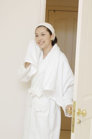 woman in bath: Woman after taking a bath