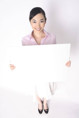 message board: Business lady with the message board Stock Photo