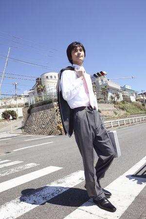 crossing: Japanese office worker crossing zebra crossing