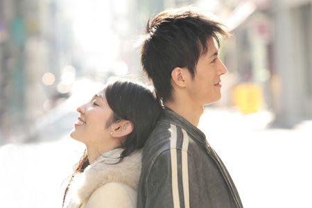 일본인 커플의 초상화 스톡 콘텐츠