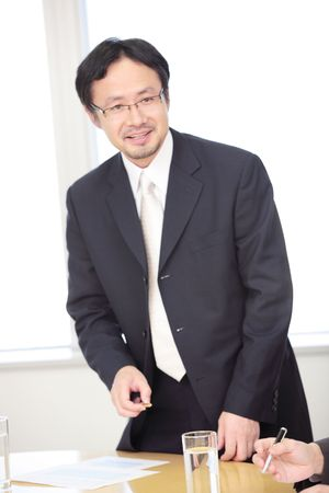 superiors: Portrait of Japanese office worker Stock Photo
