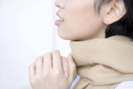 muffler: Woman wearing a muffler