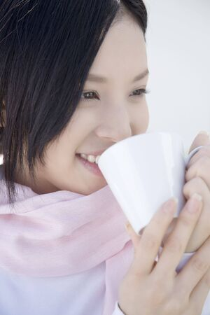 japanes: Woman drinking coffee