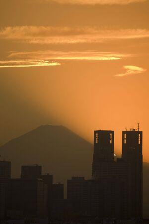 civic center: Mount Fuji and Civic Center Stock Photo