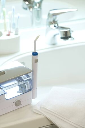 washstand: Teeth brush Stock Photo