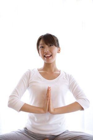 supple: Japanese woman doing exercise
