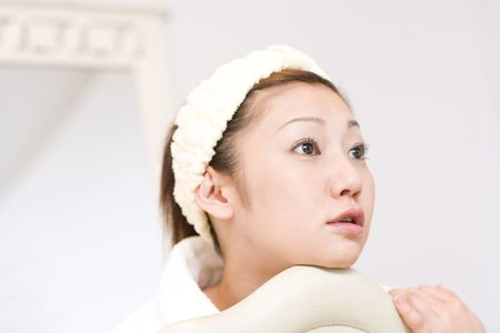 taking bath: Japanese woman after taking bath Stock Photo