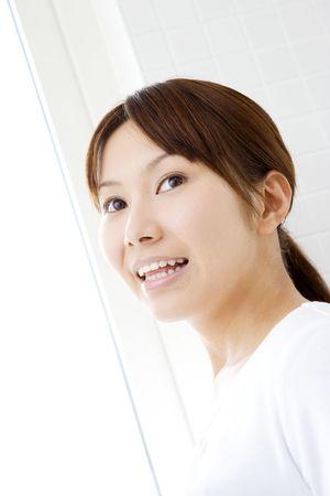 washstand: Portrait of Japanese woman Stock Photo