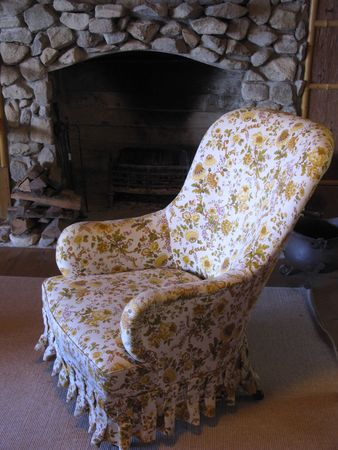 fireplace: Chair and fireplace