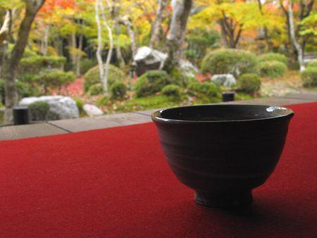 stillness: Garden and green tea Stock Photo