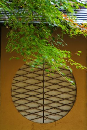 round window: Round window of tearoom Stock Photo