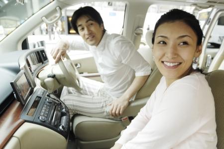 car inside: Japanese couple
