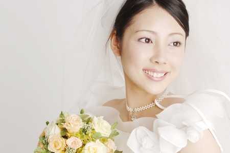 asian bride: Smiling bride