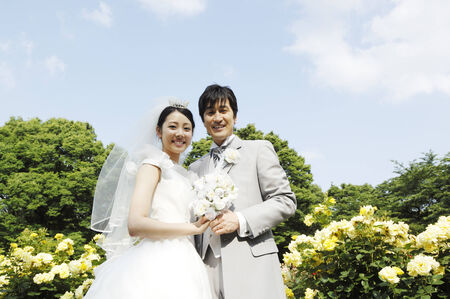 bridal couple: Bridal couple below the blue sky Stock Photo
