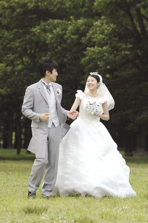 asian bride: Smiling bridal couple