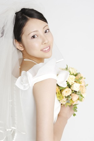 asian bride: Portrait of bride Stock Photo