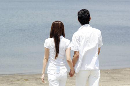 Back figure of Japanese couple photo