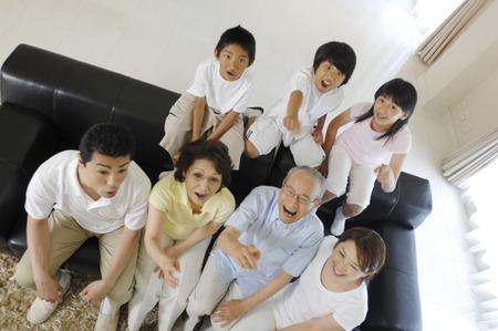 asia family: Familia ampliada  Foto de archivo