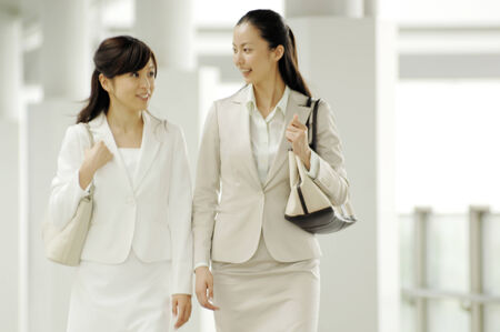 fellow: Business lady walking with fellow worker Stock Photo