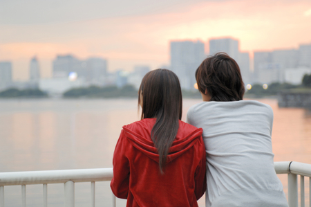 Back figure of Japanese young couple photo