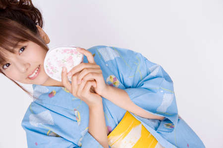 Japanese girl wearing yukata photo