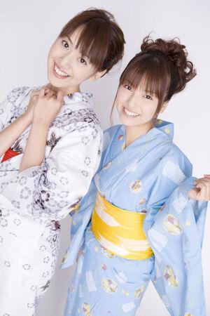 yukata: Japanese girls wearing yukata Stock Photo