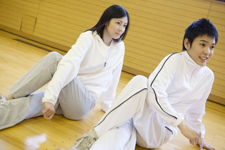 comrade: Japanese young couple doing a exercise