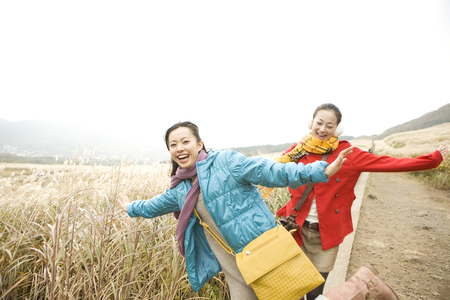 frolic: Two women frolic in the tourist destination