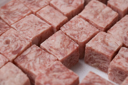 cubed: Close-up shot of a fresh cubed steak Stock Photo