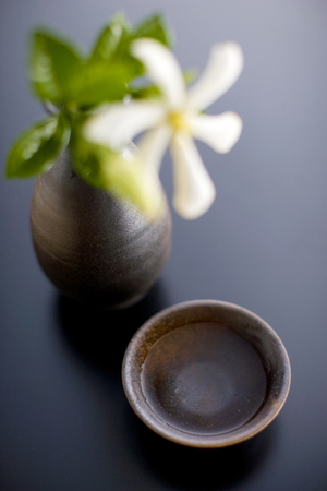 sake: Sake bottle and cup Stock Photo