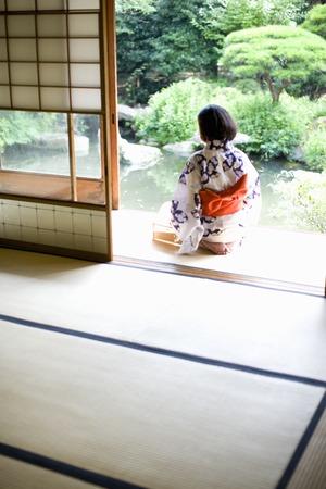 verandah: yukata Stock Photo