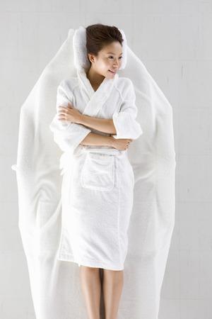 oriental bathrobe: woman Stock Photo