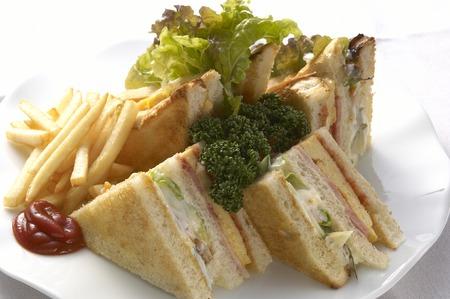 白い皿にクラブ家のサンドイッチ。 写真素材
