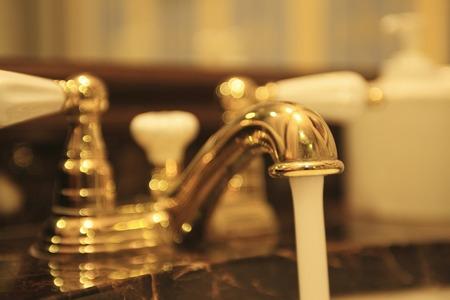 powder room: Receptor con una llave de oro.