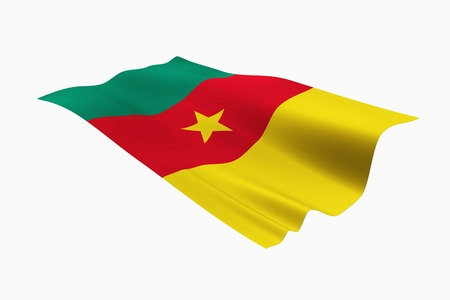 cameroonian: Cameroonian national flag and white background. Stock Photo
