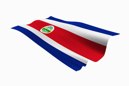 costaricano: Costa Rican national flag and white background.