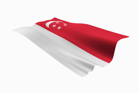 singaporean flag: Singaporean national flag and white background. Stock Photo