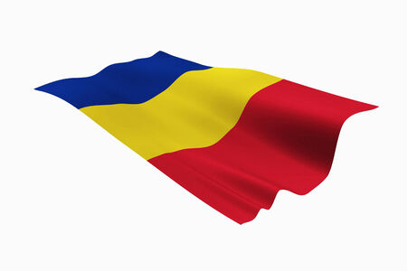 chadian: Chadian national flag and white background. Stock Photo